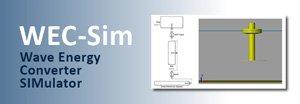 WEC-Sim (Wave Energy Converter Simulator) title graphic with schematics